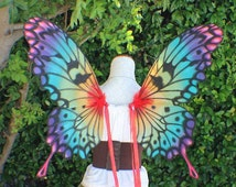 Custom Hand Painted Rainbow Swallowtail Butterfly Wings