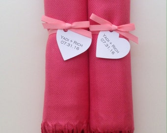 Bubblegum Pink Shawls with Pink Ribbon and Heart Favor Tags, Set of 2, Pashmina, Wedding Favor, Bridal Shower Gift, Bridesmaids Gift, Wraps