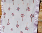 Tree Blanket--Cotton Gauze and Satin Stamped Security Blanket