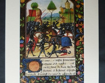 Medieval Print of a Battle, Available Framed, War Art, Black Knight Wall Art, Battle Reenactment Gift, Historic Combat, Ancient Book Decor