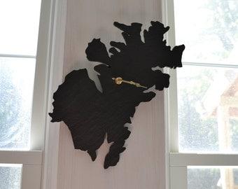Kodiak Island Alaska Slate Clock - State Shaped Clock