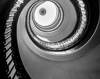 """Architecture Photography - black and white spiral staircase 16x24 stairs 24x36 san francisco 8x12 large wall art 20x30 """"Floating Up to You"""""""