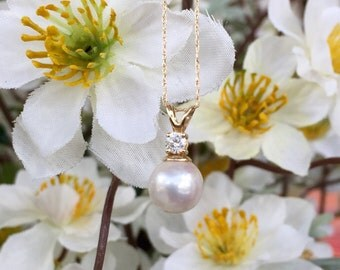 14K Gold Pearl & Diamond Necklace (st - 1330)