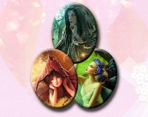 FANTASY FAIRIES - Digital Collage Sheet 30mm x 40mm oval images for pendants, earrings, decoupage  etc. Instant Download #167.
