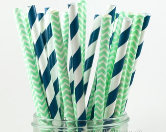 NAVY and MINT Spiraled Striped Chevron Party Paper Straws with Free Printable DIY Flags (50 count)