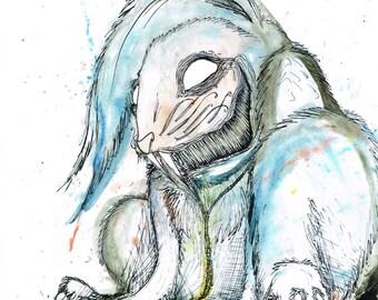 ALICE IN WONDERLAND White Rabbit A4 Print