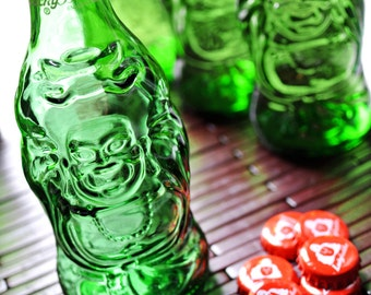 3 Lucky Buddha Beer Bottle - Empty Bottle with the Cap - Collectible / Craft