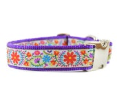 Purple Floral Dog Collar - Whimsical Girl Dog Collar with Metal Buckle - Adjustable for Small and Large Breed Dogs