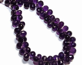African amethyst faceted  teardrops, AA grade. Select a size: 8.5mm - 10mm