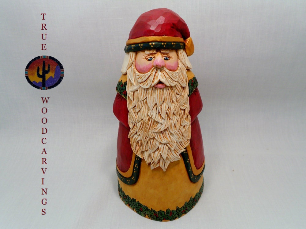 Santa hand carved wooden collectible