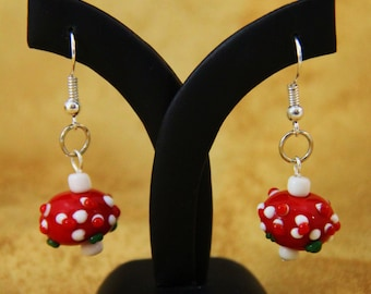 Red Glass Bumpy Bead Earrings (E0044)