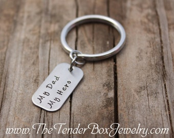 My Dad My Hero Keyring handstamped hand stamped stainless keyring keychain  gift customers Mother's day Gift Father's Day