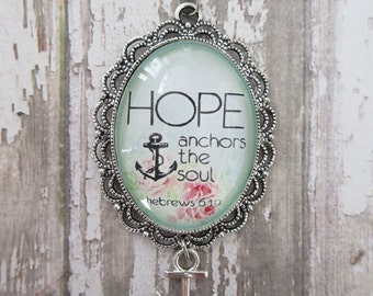 Hope Anchors The Soul Hebrews 6:19 Vintage Rose Glass Scallop Pendant Necklace With Silver Anchor Charm