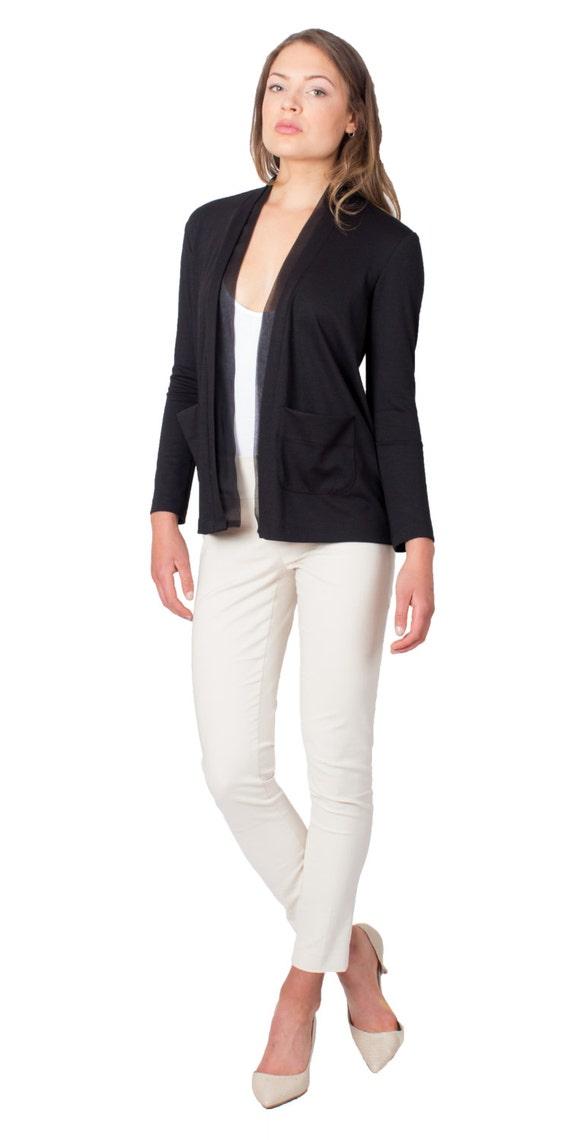 Black Cardigan Sweater Jacket Pockets Formal Dressy