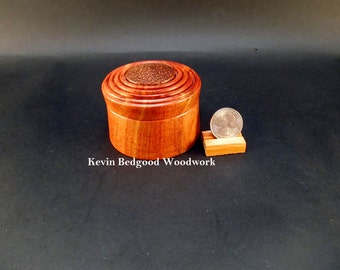 Box Lidded Container Hand turned out of Carob wood with a Red Palm insert, jewelry