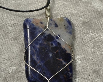 Sodalite Silver wire wrapped healing Throat Chakra crystal pendant