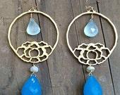 Lotus Earrings / Chalcedony Earrings / Mystic Aquamarine / 24K Gold Vermeil / Gemstone Earrings
