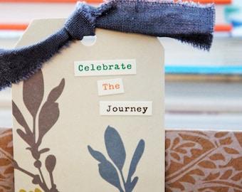 Upcycled Bookmark - Celebrate The Journey - recycled upcycled embellished handmade bookmark