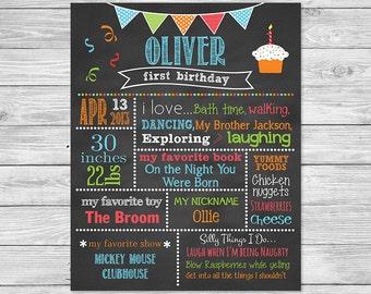 First Birthday Chalkboard Poster Printable - First Birthday Favorite things Chalkboard Sign - Birthday Chalkboard, Banner B
