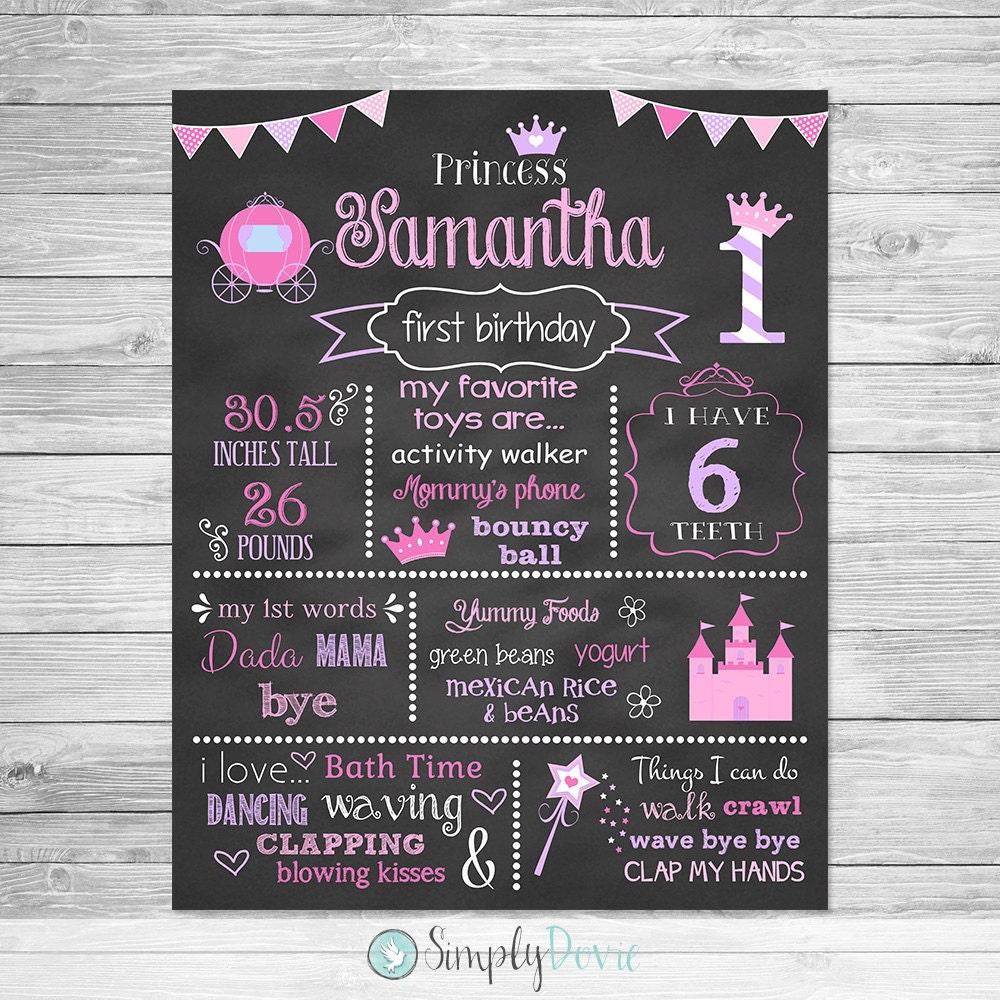 First birthday princess chalkboard poster printable for First birthday chalkboard printable