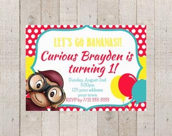 curious george birthday invitation  etsy, Birthday invitations