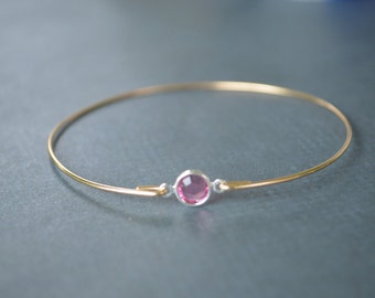 Closeout Item----------Gold Pink Crystal Bangle Bracelet ,Cute Bangle bracelet. Bridesmaids Gifts.