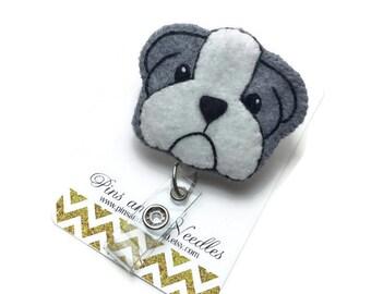 Veterinarian ID Badge Reel - Retractable Badge Reel - Dog Badge Holder - Cute ID Badge Reel - Nurse Gifts - Bulldog ID Badge Reel