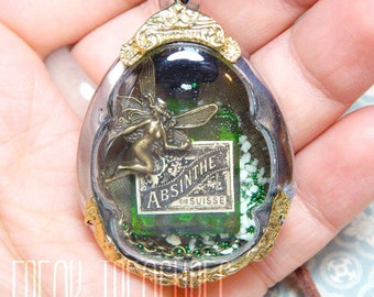 Absinthe fairy glass locket necklace (la Fée Verte) laudanum