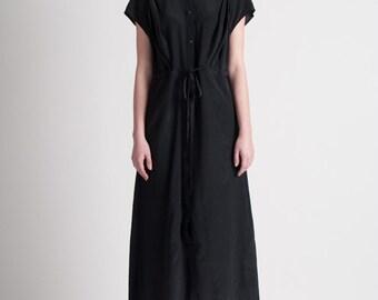 30% Season Off_Rhenish Silk Elegant Maxi Dress_Black