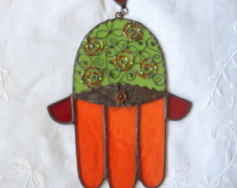 HANDMADE HAMSA HAND   Green,Orange and Red Color with Beads.  Stained Glass,Wall Hanging,Original Art Decor,Ethnic Tiffany Glass,Unique Gift