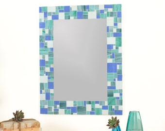 Decorative Mosaic Beach Bathroom Wall Mirror in Blues, Sea Green and White Stained Glass Tiles, Various Sizes