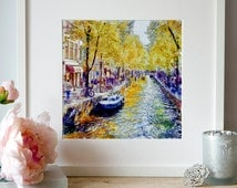 Amsterdam Canal Watercolor painting Cityscapes Wall art Amsterdam poster The Netherlands Holland Amsterdam decor Aquarelle Affordable art