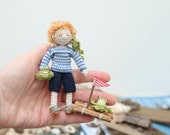 Miniature collectable doll nautical boy. Crochet doll, miniature doll, seaside doll, soft doll, knitted doll, amigurumi doll, raft, frogs