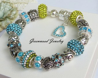 Aqua and Peridot - European Style Charm Bracelet - Lampwork Glass And Crystal Beads and Charms