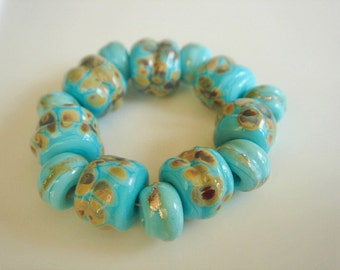 SRA Lampwork Beads, Blue Lampwork Beads, Raku Lampwork Beads, Turquoise Glass Beads - 14 beads