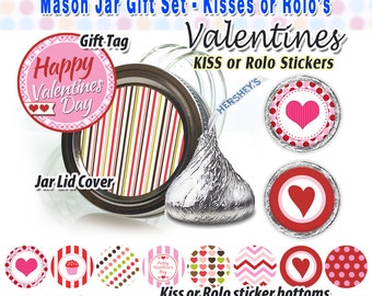 Hershey Kiss stickers, Chocolate Kiss Mason Jar Gift labels, Valentines tag & topper, printable, Rolo stickers, instant download