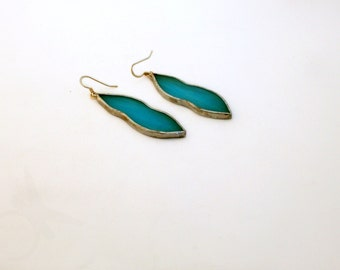 Sky blue glass teardrop earrings in stained glass with sterling silver 925 in Tiffany tecnique