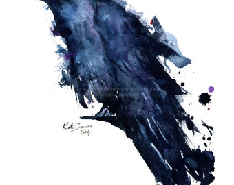 Raven - Watercolor raven print - Archival Print of Watercolor Illustration