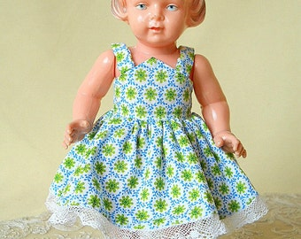 German vintage doll, 1940s unmarked Milon Gehler 8 1-2 inch chubby girl doll, made of celluloid with molded hair & shoes, painted features