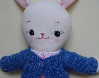 Stuffed Bunny Plush - Handmade ragdoll, dress-up cloth doll, bunny plushie