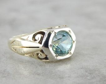 Retro Era Green Gold Blue Zircon Mens Ring 8360P1-D