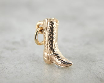 Yeehaw! Yellow Gold Cowgirl Boot Charm or Pendant UJK0VA-P