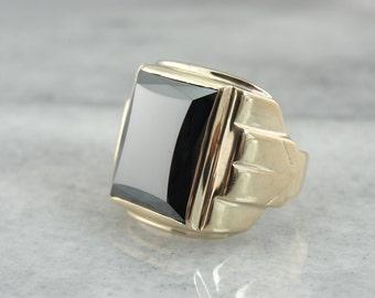 Retro Era Men's Hematite Ring for Any Occasion 2FAAQ9-D