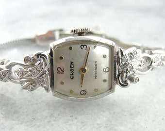 Antique White Gold and Diamond Gruen Women's Watch PMFHY9-N