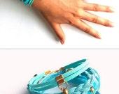 Boho Bracelet, Aqua Bracelet, Statement Bracelet, Infinity Bracelet, Suede Leather Bracelet, Baby Blue Bracelet, Multistrand Bracelet