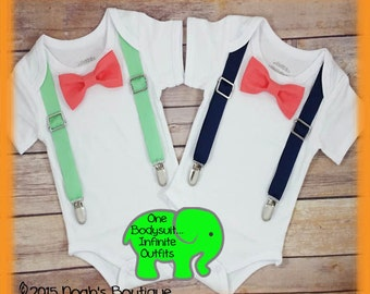 Baby Boy Mint and Coral Clothes - Navy and Coral - Newborn Boy - Bow Tie Suspenders - Summer - Toddler Boy - Baby Boy Outfit - Birthday