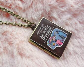 Handbook For The Recently Deceased Beetlejuice Literature Book Reading Bronze Locket Necklace Jewellery