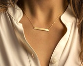 Bar Necklace, Personalized Name Plate Necklace, Gold, Silver, Rose Gold Name Bar Necklace: Layered and Long Bar Necklace, PERFECT Bar LN111h