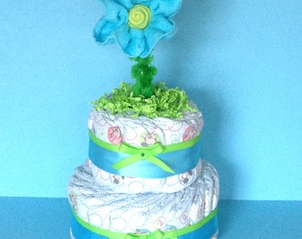 Blue diaper cake - diaper cake for a boy - Pampered Baby Creations