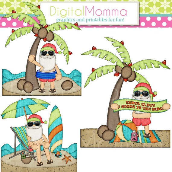 christmas in july santa beach scene clipart personal